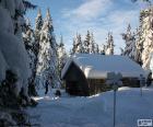 Cabine de bois, une tempête de neige