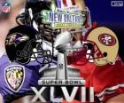 Super Bowl 2013. San Francisco 49ers vs Baltimore Ravens. Superdôme, New Orleans