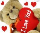 Ours en peluche avec des coeurs pour la Saint-Valentin