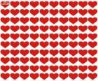 100 cœurs, cent cœurs pour célébrer la Saint-Valentin, fête des amoureux et de l'amitié