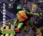 Leonardo, la tortue Ninja attaquant avec katanas