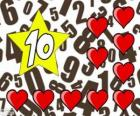Nombre 10 en une étoile à dix coeurs