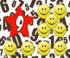 Nombre 9 en étoile avec neuf smiles ou sourires