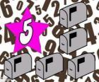 Nombre 5 dans une étoile à cinq boîtes aux lettres
