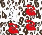 Nombre 3 en étoile avec trois téléphones