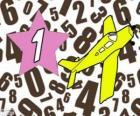 Nombre 1 dans une étoile avec un avion