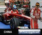Fernando Alonso fête sa victoire au Grand prix de la Chine de 2013