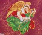 Ange jouant de la harpe pour fêter Noël