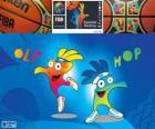 Ole et Hop, mascottes du Coupe du monde de basket-ball 2014