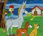 Les Musiciens de Brême : un âne, un chien, un chat et un coq