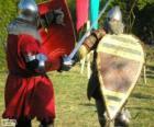 Deux soldats qui combattent avec des épées et boucliers