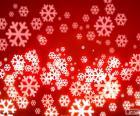 Flocons de neige fond rouge