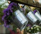 Fleurs en pots métalliques