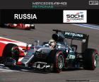 Lewis Hamilton, deuxième au Grand Prix de Russie 2016 avec sa Mercedes