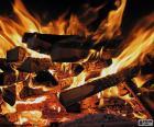 L'image d'un feu dans la cheminée pour les froides journées d'hiver