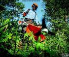 Jardinier avec une débroussailleuse