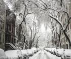 Rue couverte de neige