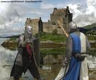 Deux chevaliers combattant dans la bataille