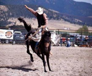Puzzle Rodeo - Cavalier dans la preuve du cheval de selle, un cheval sauvage