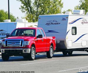 Puzzle Rouge Pick-up avec caravane