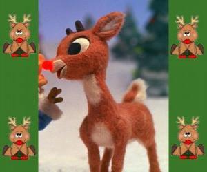 Puzzle Rudolphe, le renne au nez rouge
