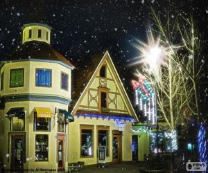 Puzzle Rue avec des lumières de Noël