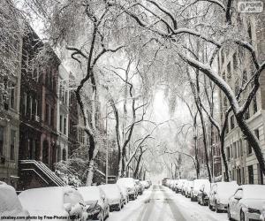 Puzzle Rue couverte de neige