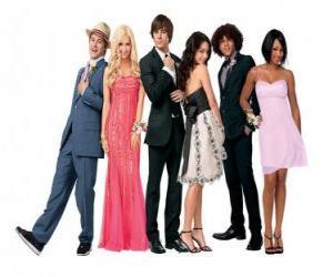 Puzzle Ryan Evans (Lucas Grabeel), Sharpay Evans (Ashley Tisdale), Troy Bolton (Zac Efron), Gabriella Montez (Vanessa Hudgens), Chad (Corbin Bleu), Taylor (Monique Coleman) très élégante
