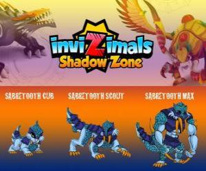Puzzle Sabretooth Cub, Sabretooth Scout, Sabretooth Max. Invizimals Shadow Zone. Le gardien du parc qui rêve de devenir un super héros