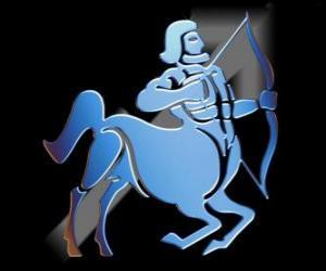 Puzzle Sagittaire. Le centaure, l'archer. Neuvième signe du zodiaque. Nom latin est Sagittarius