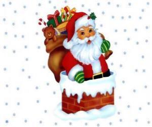 Puzzle Sainte Claus en entrant par ce cheminné chargé avec de nombreux cadeaux