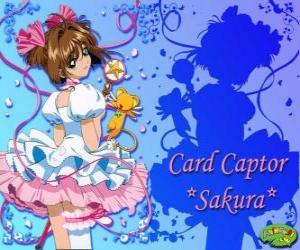 Puzzle Sakura, la capteuse des cartes avec une de ses robes à côté de Kero