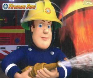Puzzle Sam le pompier avec le tuyau