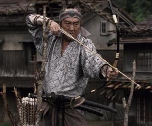 Puzzle Samurai tirant son arc