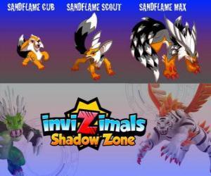 Puzzle Sandflame Cub, Sandflame Scout, Sandflame Max. Invizimals Shadow Zone. Ces Invizimals ont protégé pendant des siècles les tombeaux des pharaons
