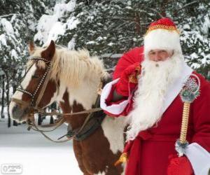 Puzzle Santa Claus à côté d'un cheval