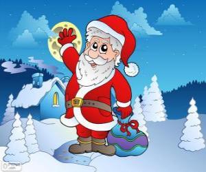 Puzzle Santa Claus dans un paysage enneigé