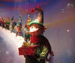 Puzzle Santa Claus elfes en chargeant avec une caisse d'un cadeau
