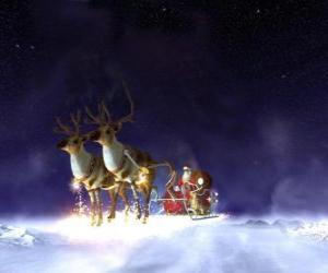 Puzzle Santa Claus en volant dans son traîneau de Noël tiré par des rennes magiques