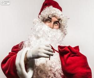 Puzzle Santa Claus heureux avec les cadeaux de Noël