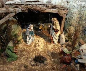 Puzzle Scène de la Naissance de Jesus dans une écuire près de Bethléem