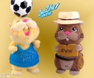 Puzzle Scoodles avec le chapeau et la ceinture avec un autre hamster de Zhu Zhu Pets