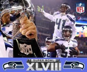 Puzzle Seattle Seahawks, Champions Super Bowl 2014