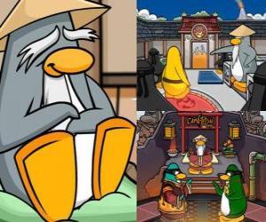 Puzzle Sensei est un être vivant pingouin très sage dans le Dojo et leur apprend à être pingouins ninja