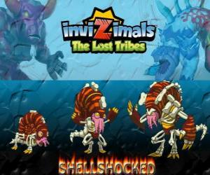 Puzzle Shellshocked, dernière évolution. Invizimals The Lost Tribes. Une créature magique excentrique qui vit seule dans les grottes