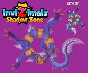 Puzzle Shenlong. Invizimals Shadow Zone. Le puissant esprit de l'empereur qui fait construire la Grande Muraille de Chine