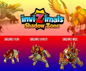 Puzzle Shizoku Cub, Shizoku Scout, Shizoku Max. Invizimals Shadow Zone. Un cochon samouraï qui vient du Japon féodal, un guerrier en armure