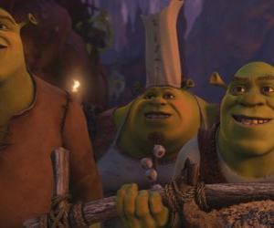 Puzzle Shrek avec d'autres ogres.