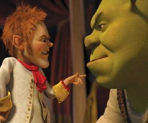 Puzzle Shrek est dupé par la signature d'un pacte avec le négociateur affable Rumpelstiltskin