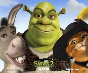 Puzzle Shrek, l'ogre avec ses amis, l'Âne et le Chat Botté